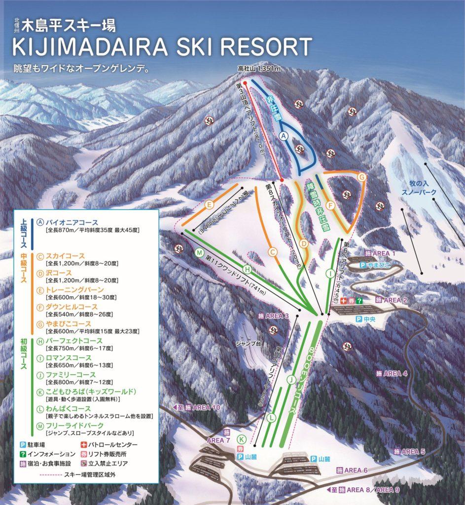 木島平スキー場全体マップ