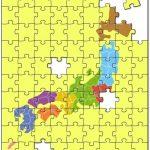 ジグソーパズルで地図や文字の勉強を